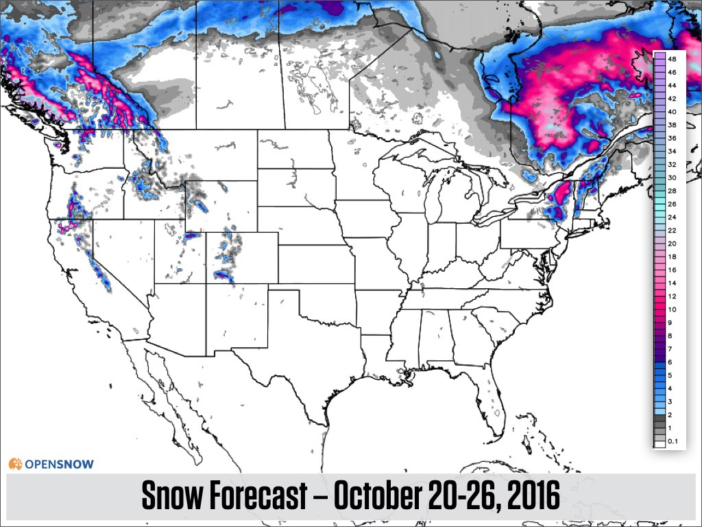 Northwest Off To A Good Start Northeast T US And Canada - First snow map us