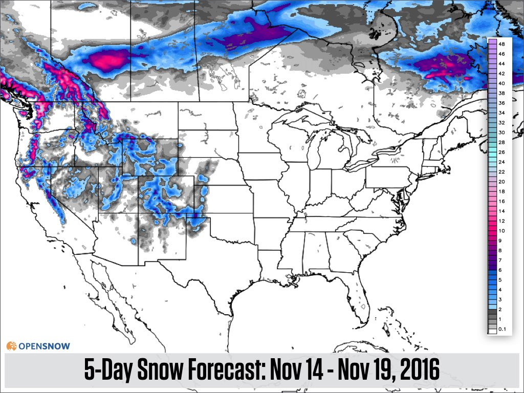 The Map Above Shows The Snow Forecast 5 10 Days From Now And As Such You Should Treat It With Caution The Map Will Change Because Meteorologists Cannot