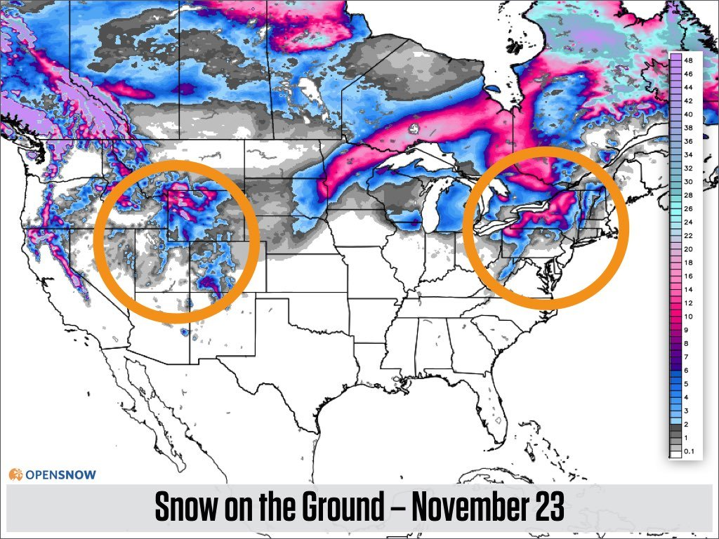 Look At The Circled Areas Of The Map Above Then Look At The Circled Areas Of The Map Below Which Shows The Forecasted Snowpack On Thanksgiving Day