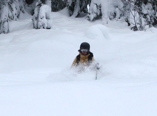 Megan Gilman can't find her legs in the pow. (photo: J Weingast)