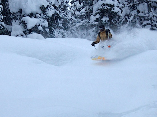 Megan Gilman bounds through the powder (photo: Jason Weingast).