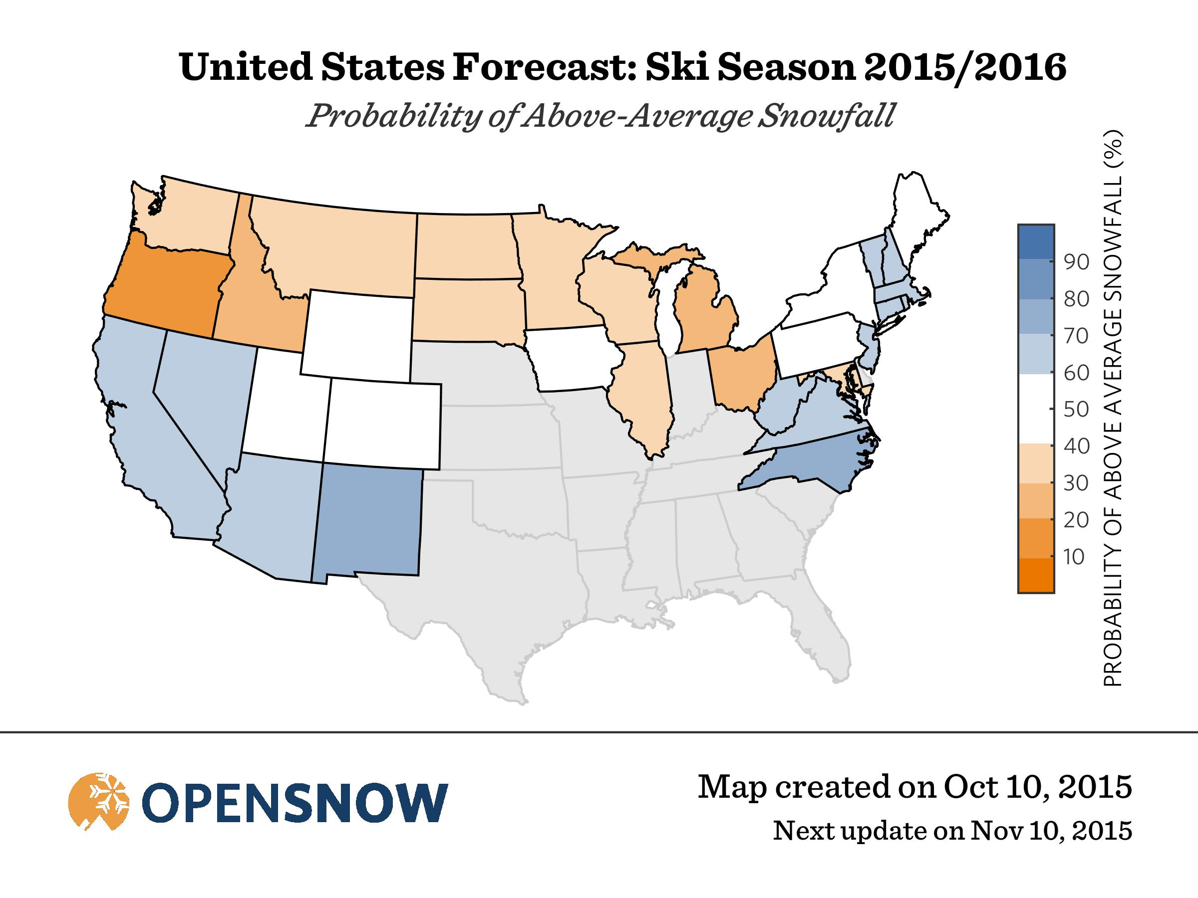 OpenSnow Winter Ski Forecast For  OpenSnow - Us weather map snow forecast
