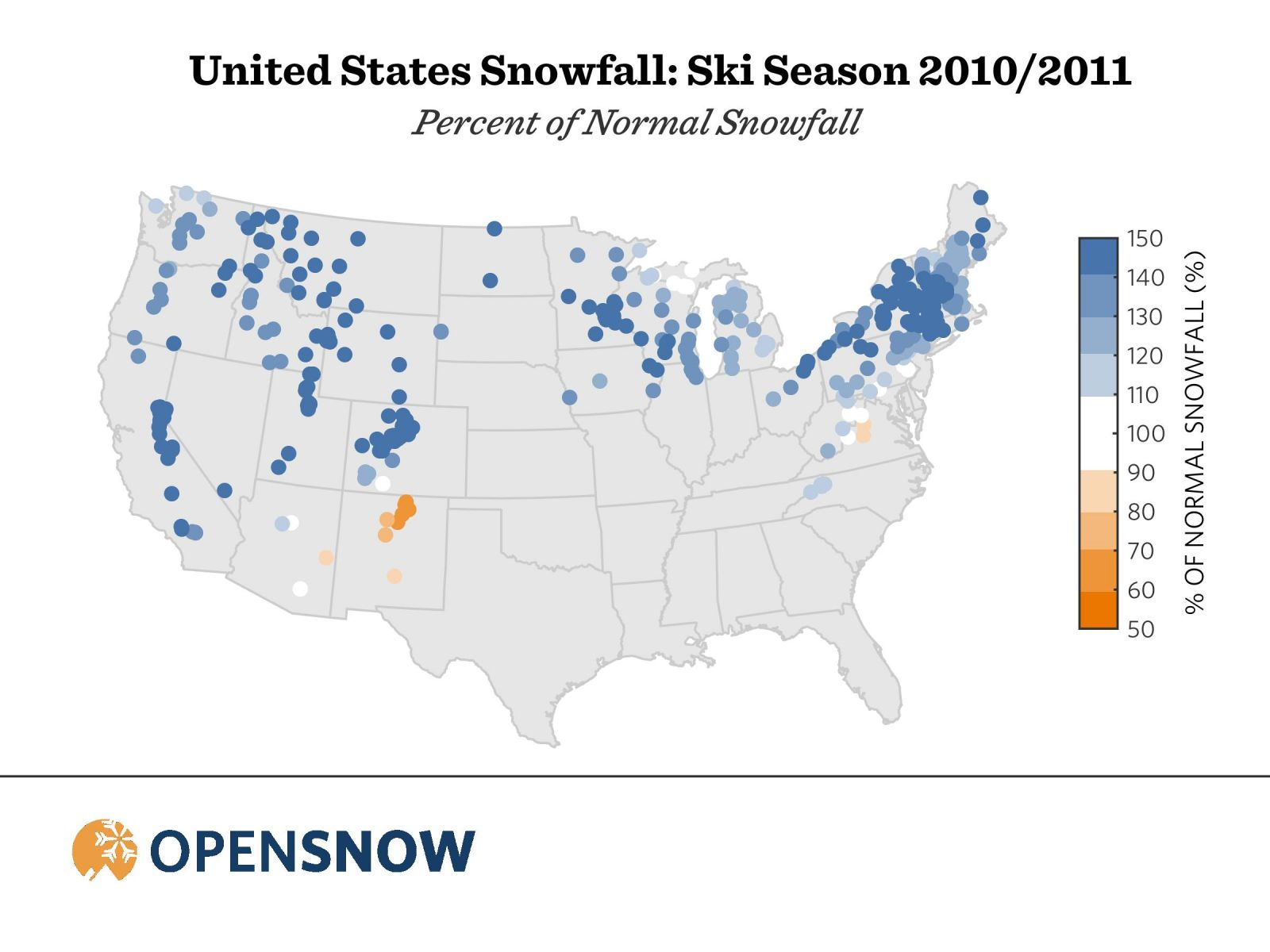 United States Snowfall: Ski Season 2010-2011