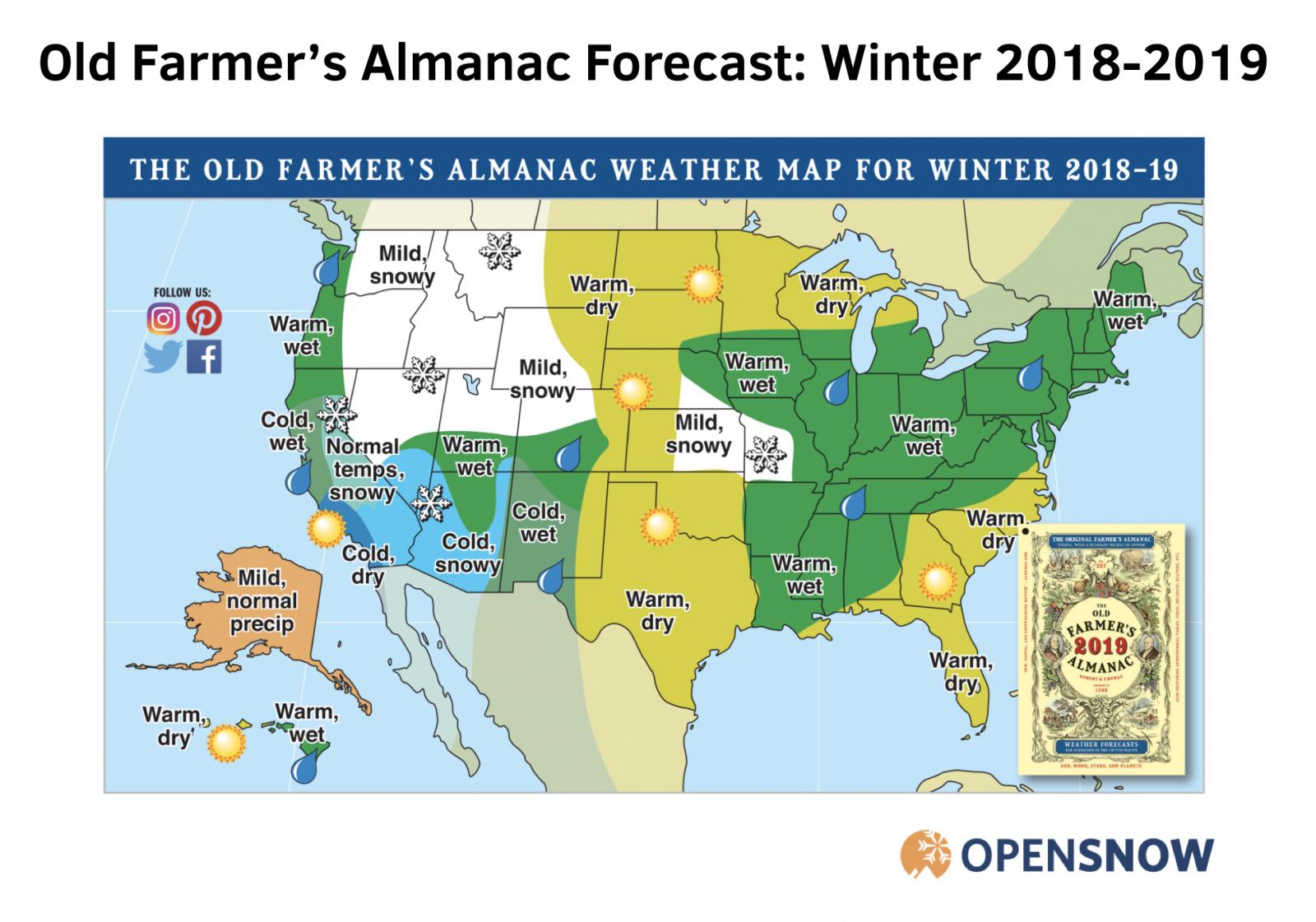 farmers almanac   winter forecast opensnow Farmers Almanac 2017 2018 Winter Forecast Is This