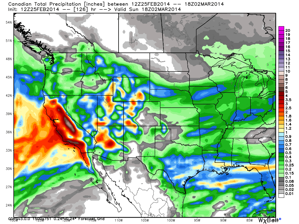 Canadian precip through 3/2