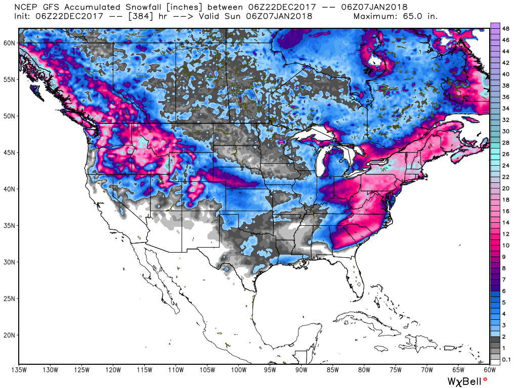 the central and eastern u s will also get the snow as well as the cold look at the forecast for temperature departures from average by new year s eve